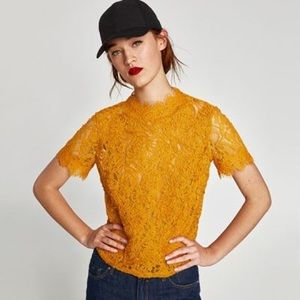 Zara Embroidered Lace Mustard Yellow Top